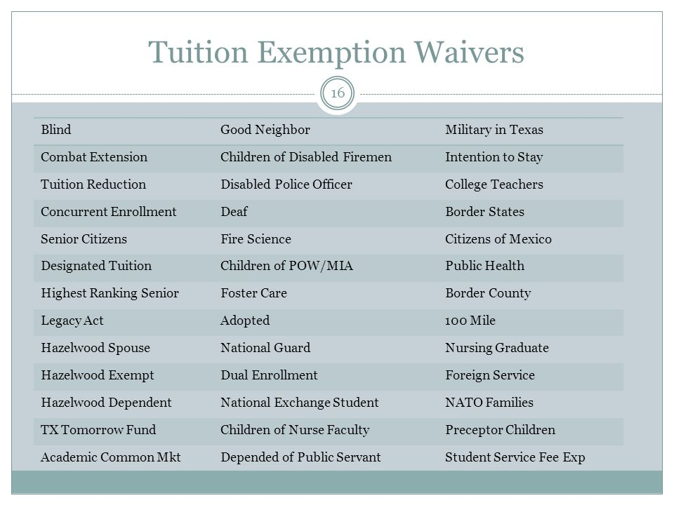 Tuition Exemption Waivers BlindGood NeighborMilitary in Texas Combat ExtensionChildren of Disabled FiremenIntention to Stay Tuition ReductionDisabled