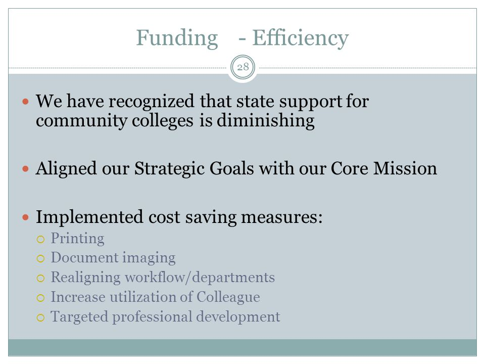 Funding - Efficiency We have recognized that state support for community colleges is diminishing Aligned our Strategic Goals with our Core Mission Imp