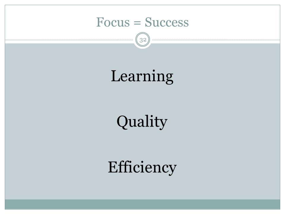 Focus = Success Learning Quality Efficiency 32