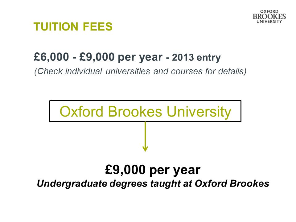 TUITION FEES £6,000 - £9,000 per year - 2013 entry (Check individual universities and courses for details) Oxford Brookes University £9,000 per year U