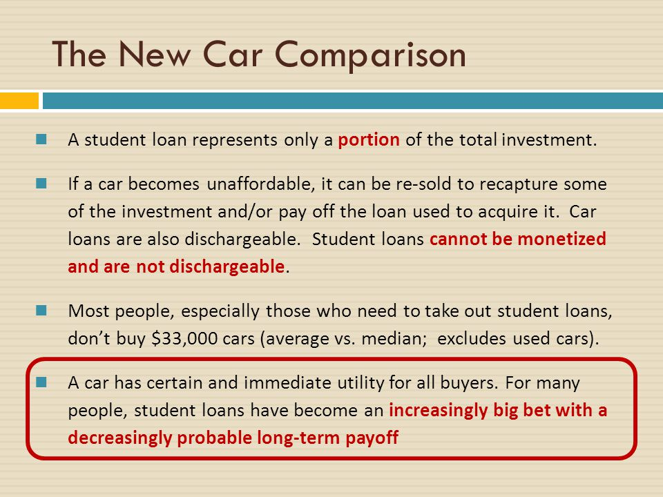 The New Car Comparison A student loan represents only a portion of the total investment.