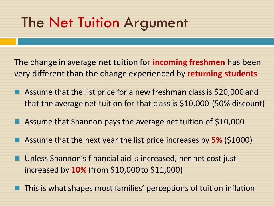 The change in average net tuition for incoming freshmen has been very different than the change experienced by returning students Assume that the list price for a new freshman class is $20,000 and that the average net tuition for that class is $10,000 (50% discount) Assume that Shannon pays the average net tuition of $10,000 Assume that the next year the list price increases by 5% ($1000) Unless Shannon's financial aid is increased, her net cost just increased by 10% (from $10,000 to $11,000) This is what shapes most families' perceptions of tuition inflation The Net Tuition Argument