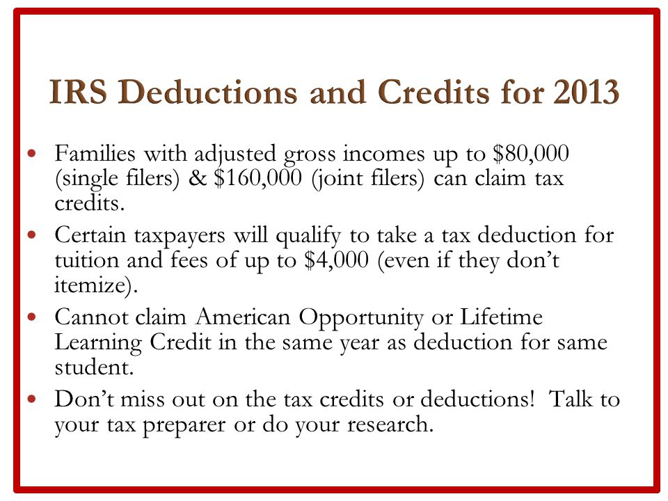 Families with adjusted gross incomes up to $80,000 (single filers) & $160,000 (joint filers) can claim tax credits.