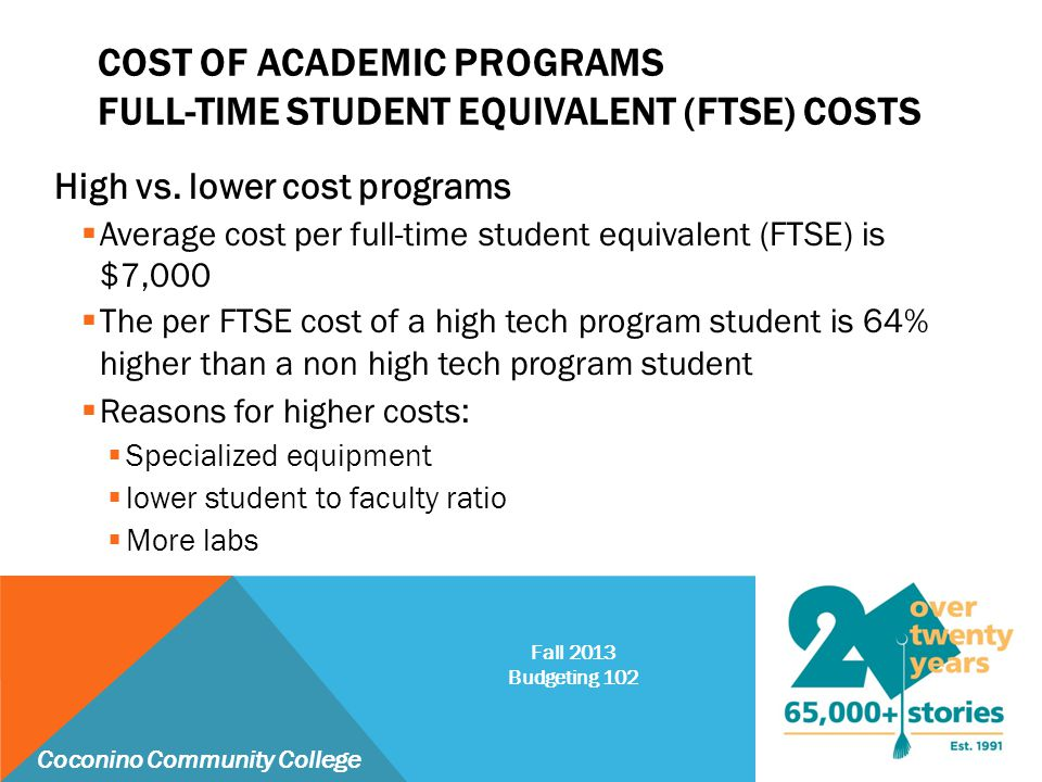 COST OF ACADEMIC PROGRAMS FULL-TIME STUDENT EQUIVALENT (FTSE) COSTS High vs. lower cost programs  Average cost per full-time student equivalent (FTSE