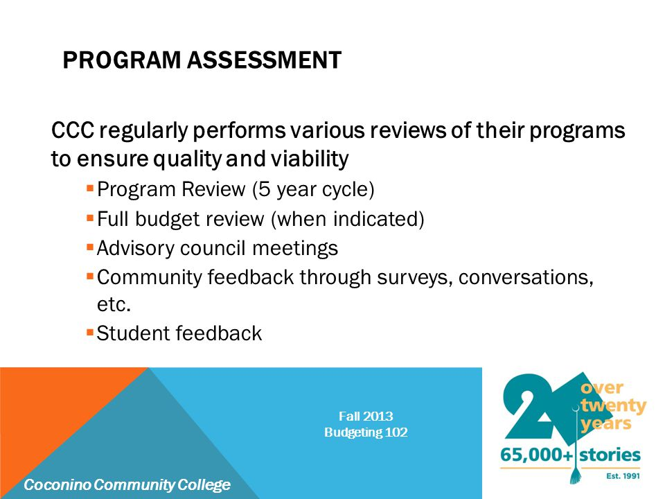 PROGRAM ASSESSMENT CCC regularly performs various reviews of their programs to ensure quality and viability  Program Review (5 year cycle)  Full bud