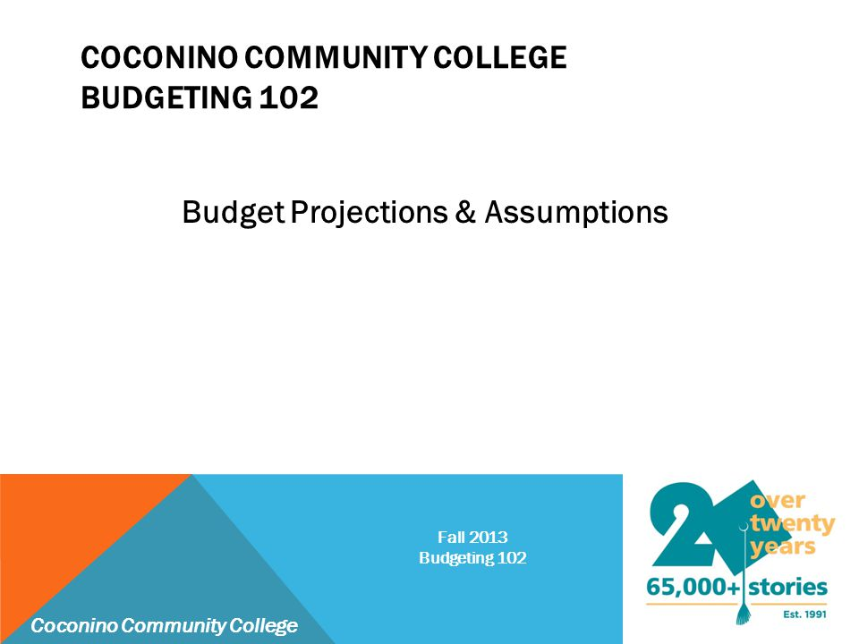 COCONINO COMMUNITY COLLEGE BASE ASSUMPTIONS:  Revenues :  Property Taxes Collections – 3% per year  Based on legally allowed 2% base growth and 1% attributable to new construction  Tuition Revenue – 2% per year  Increase in per credit hour tuition rate (will compound by student growth)  State Aid – 0% per year  Has been falling over time – May increase slightly in FY 2014  Expenditures:  Enrollment Growth – 1% per year  Cost Inflation – 3% per year  Applies to all categories (will compound by student growth) Coconino Community College Fall 2013 Budgeting 102