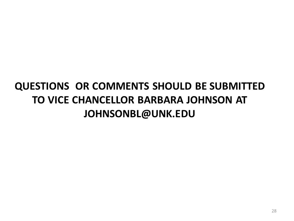 QUESTIONS OR COMMENTS SHOULD BE SUBMITTED TO VICE CHANCELLOR BARBARA JOHNSON AT 28