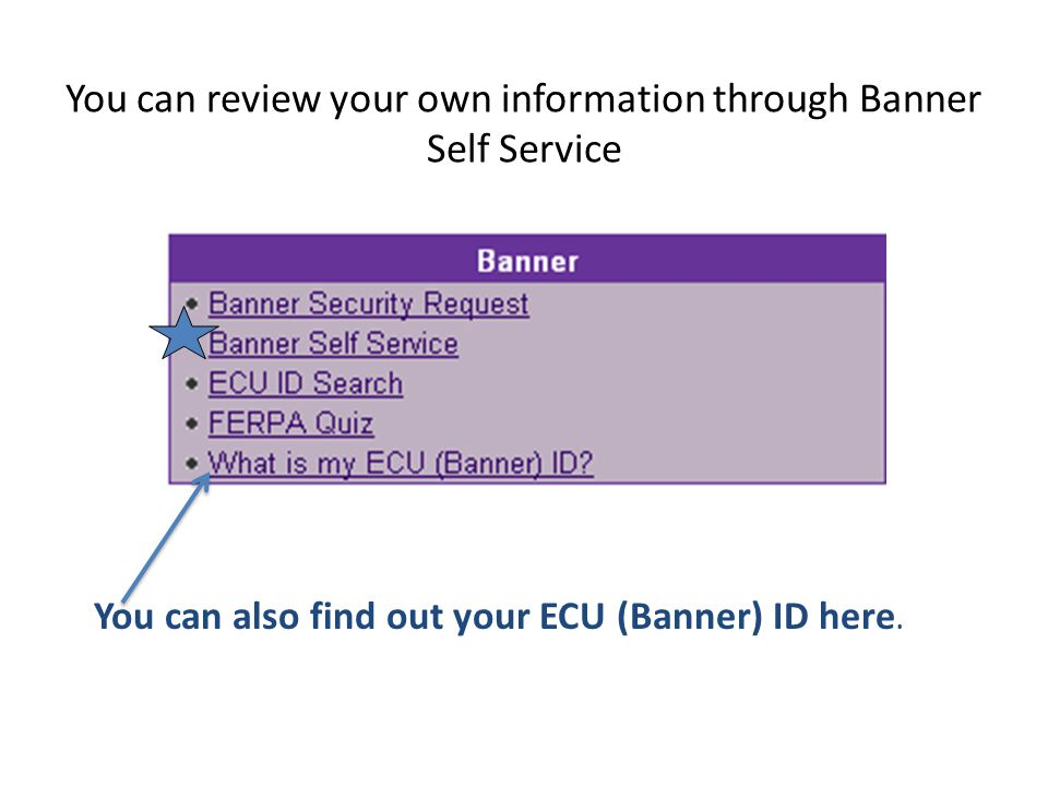 You can review your own information through Banner Self Service You can also find out your ECU (Banner) ID here.