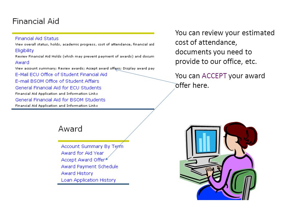 You can review your estimated cost of attendance, documents you need to provide to our office, etc.