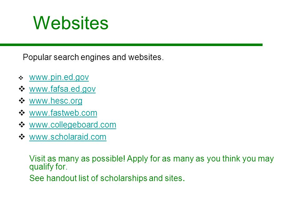 Websites Popular search engines and websites.
