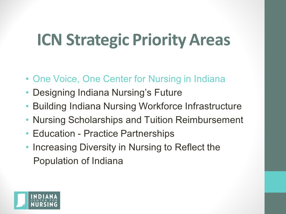 ICN Strategic Priority Areas One Voice, One Center for Nursing in Indiana Designing Indiana Nursing's Future Building Indiana Nursing Workforce Infrastructure Nursing Scholarships and Tuition Reimbursement Education - Practice Partnerships Increasing Diversity in Nursing to Reflect the Population of Indiana