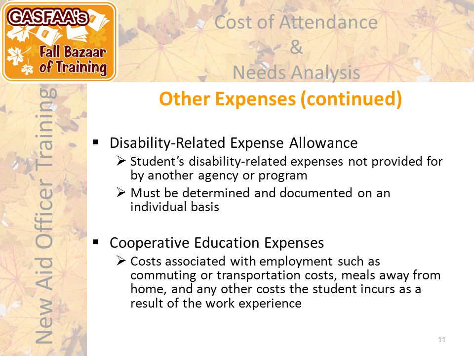 New Aid Officer Training Cost of Attendance & Needs Analysis Other Expenses (continued) 11  Disability-Related Expense Allowance  Student's disability-related expenses not provided for by another agency or program  Must be determined and documented on an individual basis  Cooperative Education Expenses  Costs associated with employment such as commuting or transportation costs, meals away from home, and any other costs the student incurs as a result of the work experience