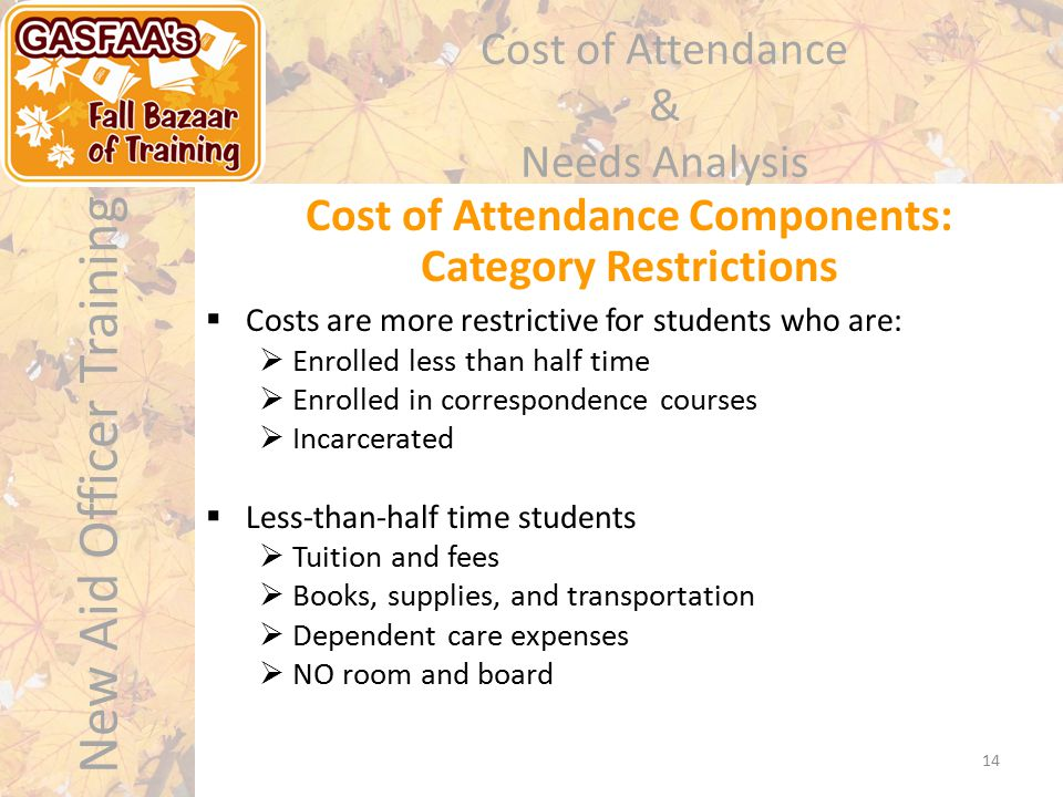 New Aid Officer Training Cost of Attendance & Needs Analysis Cost of Attendance Components: Category Restrictions 14  Costs are more restrictive for students who are:  Enrolled less than half time  Enrolled in correspondence courses  Incarcerated  Less-than-half time students  Tuition and fees  Books, supplies, and transportation  Dependent care expenses  NO room and board