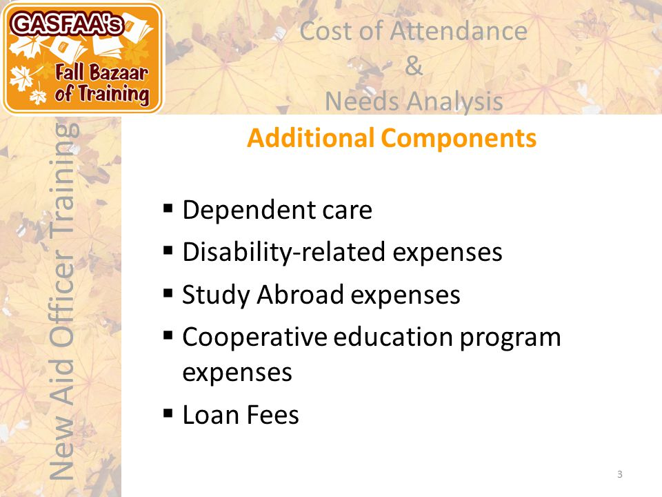 New Aid Officer Training Cost of Attendance & Needs Analysis 3 Additional Components  Dependent care  Disability-related expenses  Study Abroad expenses  Cooperative education program expenses  Loan Fees