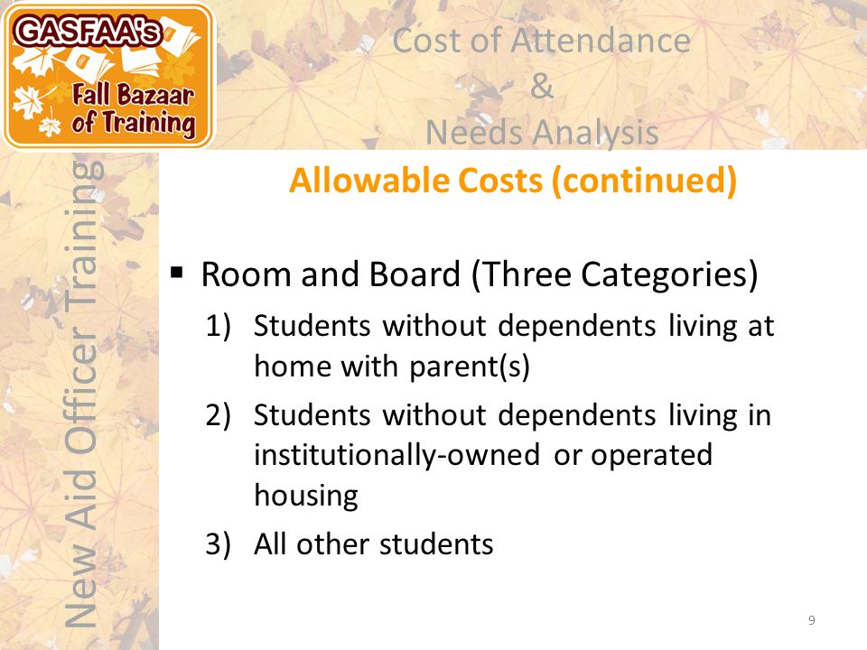 New Aid Officer Training Cost of Attendance & Needs Analysis Allowable Costs (continued) 9  Room and Board (Three Categories) 1)Students without dependents living at home with parent(s) 2)Students without dependents living in institutionally-owned or operated housing 3)All other students