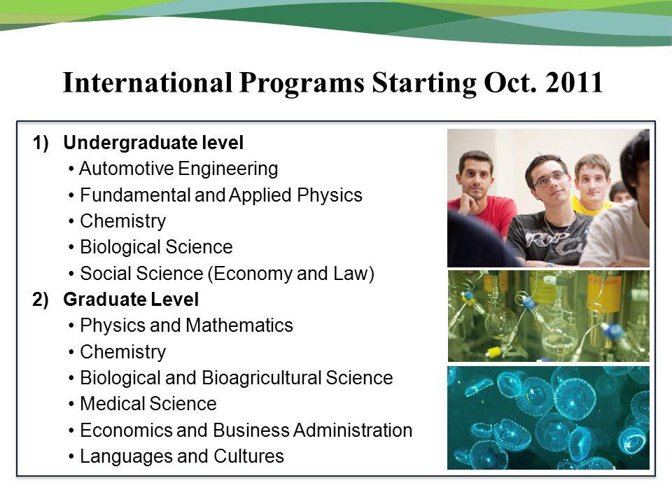 International Programs Starting Oct.