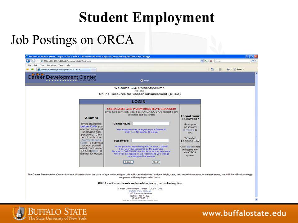 Student Employment Job Postings on ORCA