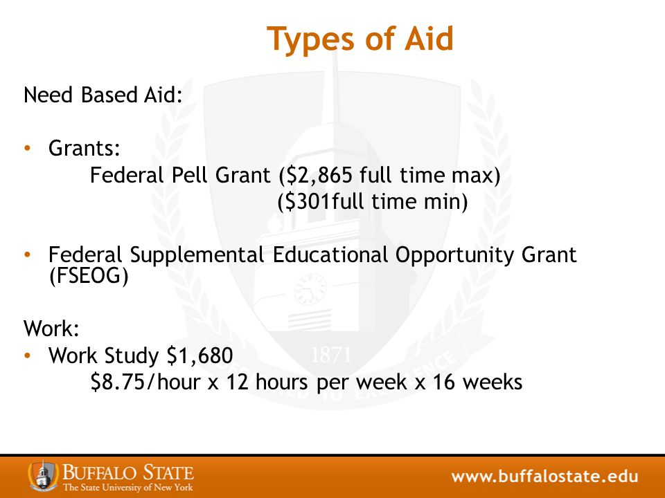 Types of Aid Need Based Aid: Grants: Federal Pell Grant ($2,865 full time max) ($301full time min) Federal Supplemental Educational Opportunity Grant (FSEOG) Work: Work Study $1,680 $8.75/hour x 12 hours per week x 16 weeks