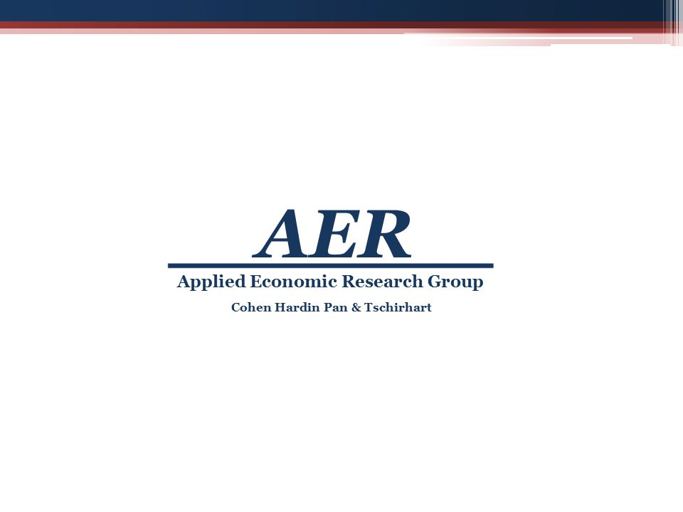 Cohen Hardin Pan & Tschirhart Applied Economic Research Group AER