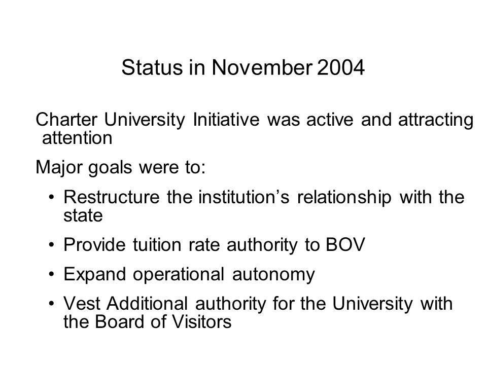 Status in November 2004 Charter University Initiative was active and attracting attention Major goals were to: Restructure the institution's relationship with the state Provide tuition rate authority to BOV Expand operational autonomy Vest Additional authority for the University with the Board of Visitors