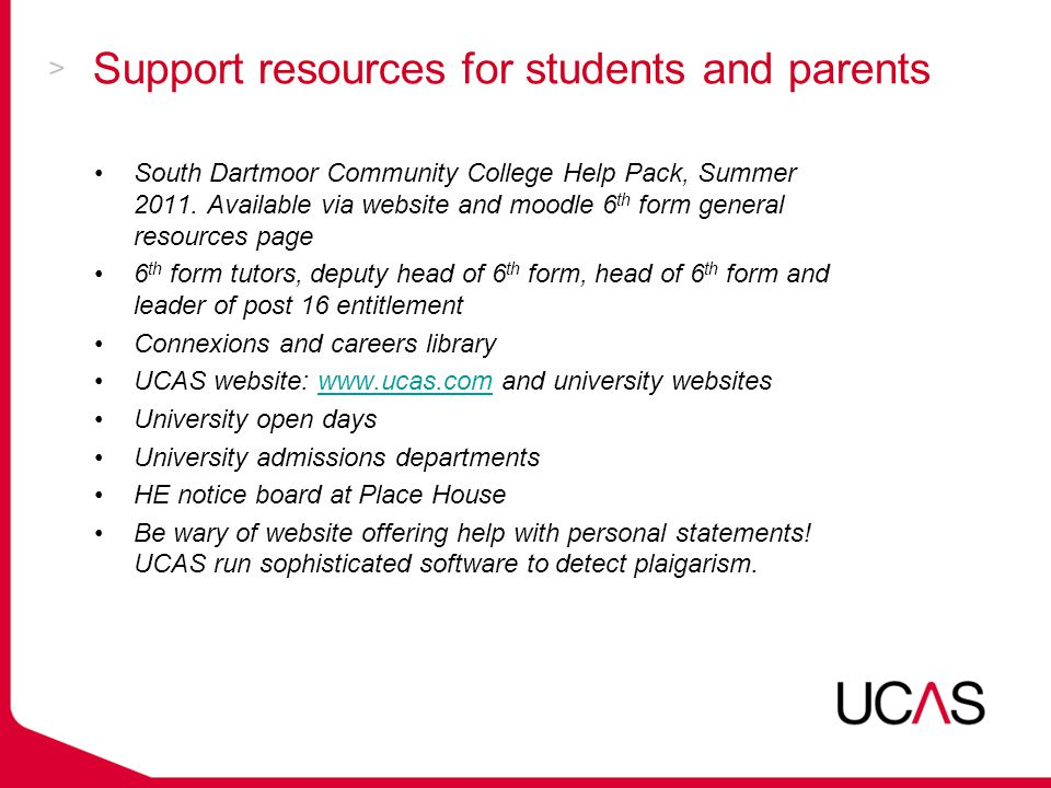 Support resources for students and parents South Dartmoor Community College Help Pack, Summer 2011.