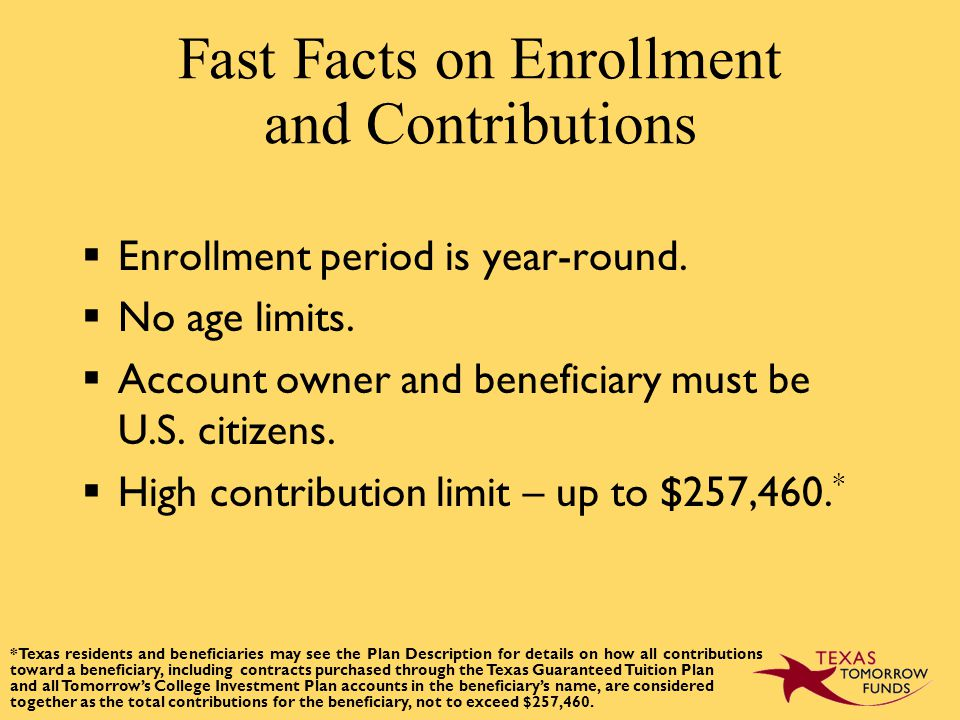 Fast Facts on Enrollment and Contributions  Enrollment period is year-round.