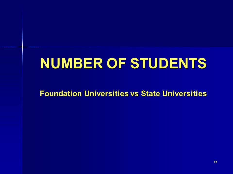 16 NUMBER OF STUDENTS Foundation Universities vs State Universities