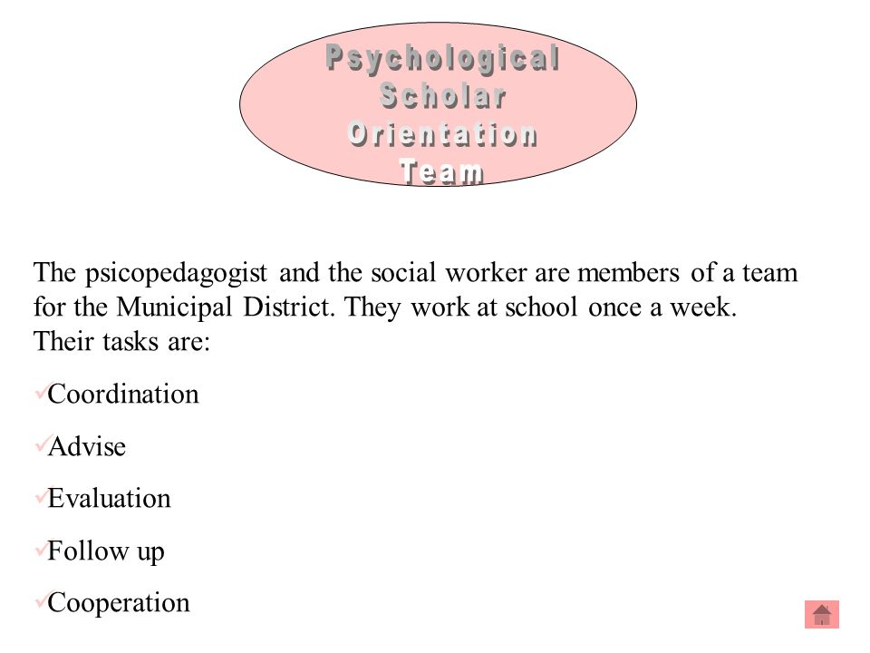 The psicopedagogist and the social worker are members of a team for the Municipal District.