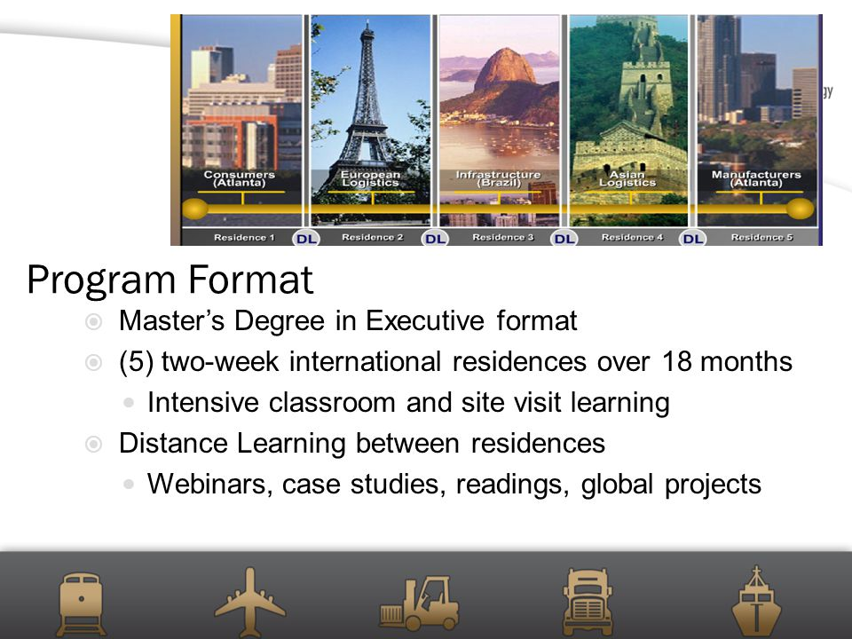 Program Format  Master's Degree in Executive format  (5) two-week international residences over 18 months Intensive classroom and site visit learning  Distance Learning between residences Webinars, case studies, readings, global projects