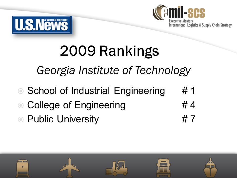 2009 Rankings Georgia Institute of Technology  School of Industrial Engineering# 1  College of Engineering# 4  Public University# 7