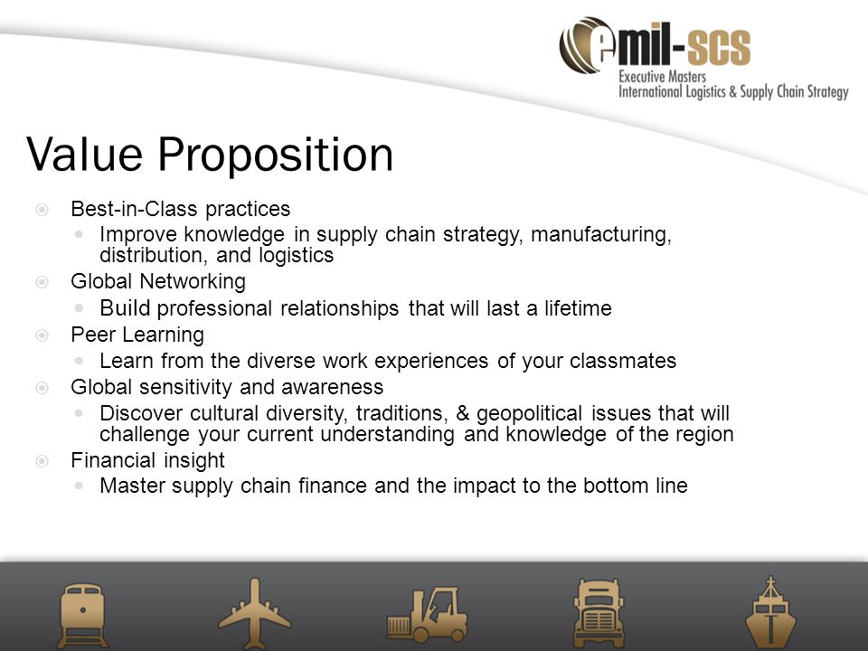 Global Project – ROI Completion of a global supply chain project for your company Project teams consist of 2-5 experienced professionals from the class Projects often extend beyond the participants' current scope of responsibility and preferably include sourcing, operations, and/or markets on at least two continents.