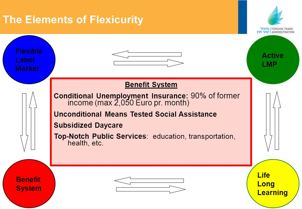 Flexible Labor Market The Elements of Flexicurity Active LMP Life Long Learning Benefit System Conditional Unemployment Insurance: 90% of former income (max 2,050 Euro pr.