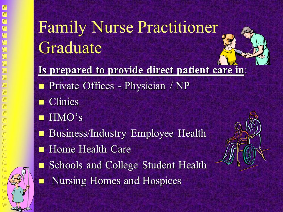 Family Nurse Practitioner Graduate Is prepared to provide direct patient care in: n Private Offices - Physician / NP n Clinics n HMO's n Business/Industry Employee Health n Home Health Care n Schools and College Student Health n Nursing Homes and Hospices