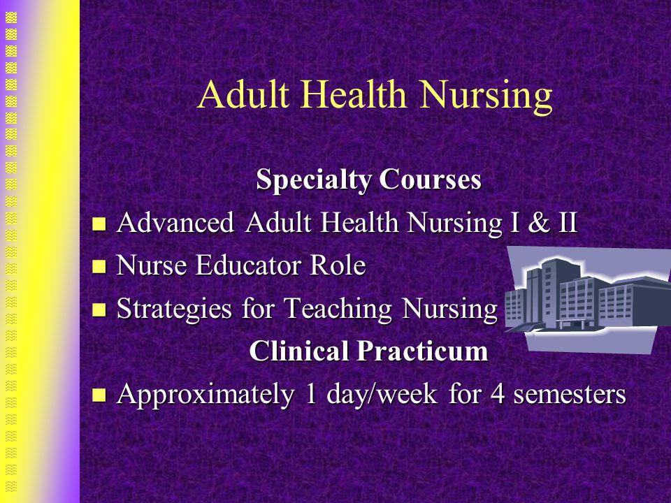 Adult Health Nursing Specialty Courses n Advanced Adult Health Nursing I & II n Nurse Educator Role n Strategies for Teaching Nursing Clinical Practicum n Approximately 1 day/week for 4 semesters
