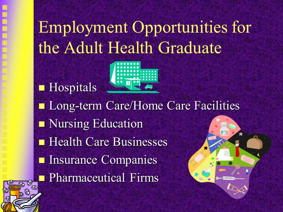 Employment Opportunities for the Adult Health Graduate n Hospitals n Long-term Care/Home Care Facilities n Nursing Education n Health Care Businesses n Insurance Companies n Pharmaceutical Firms
