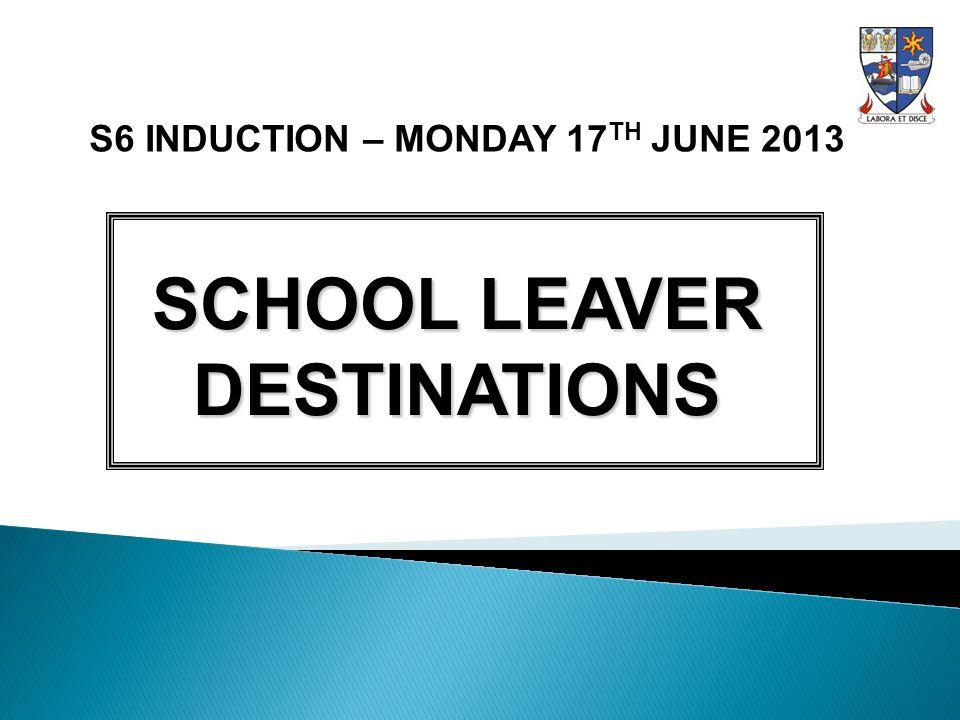 S6 INDUCTION – MONDAY 17 TH JUNE 2013 SCHOOL LEAVER DESTINATIONS