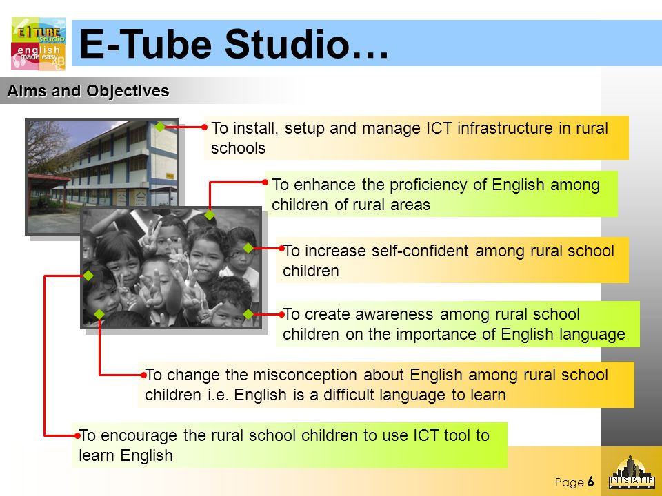 Page 6 Aims and Objectives To install, setup and manage ICT infrastructure in rural schools To enhance the proficiency of English among children of rural areas To increase self-confident among rural school children To create awareness among rural school children on the importance of English language To change the misconception about English among rural school children i.e.