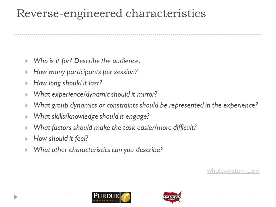 Reverse-engineered characteristics  Who is it for.