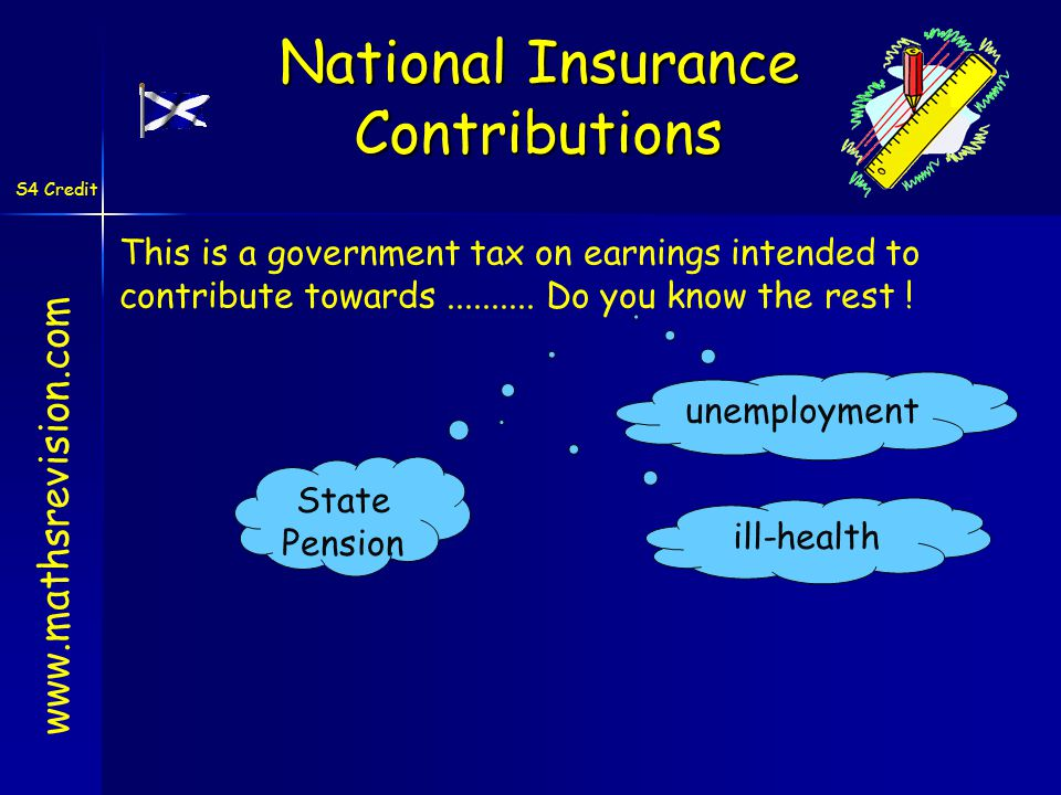 S4 Credit This is a government tax on earnings intended to contribute towards..........