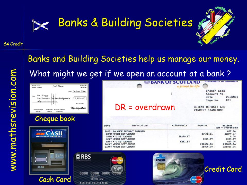 S4 Credit Banks and Building Societies help us manage our money. www.mathsrevision.com Banks & Building Societies What might we get if we open an acco