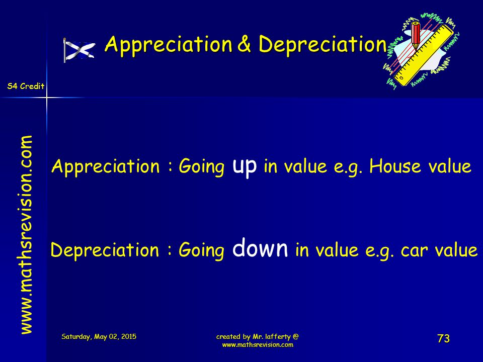 S4 Credit   Appreciation : Going up in value e.g.