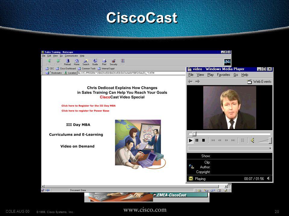 20 COLE AUG 00 © 1999, Cisco Systems, Inc. CiscoCast