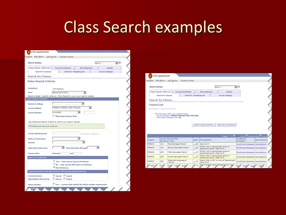 Class Search examples