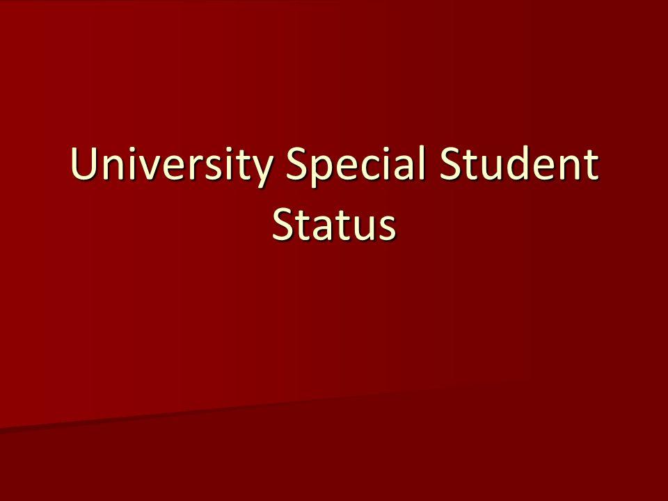 University Special Student Status