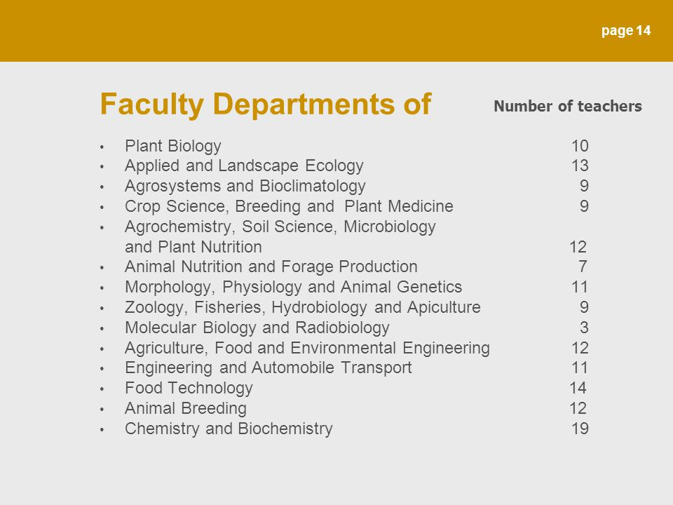 page 14 Faculty Departments of Plant Biology 10 Applied and Landscape Ecology 13 Agrosystems and Bioclimatology 9 Crop Science, Breeding and Plant Med