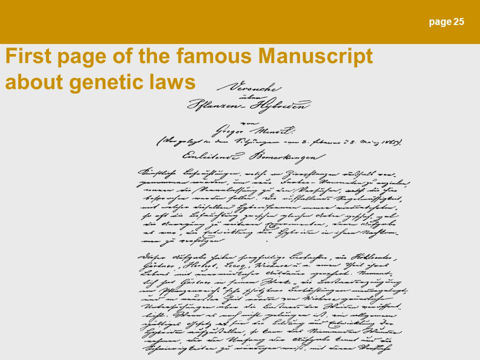 page 25 First page of the famous Manuscript about genetic laws