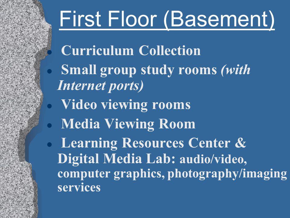 First Floor (Basement) l Periodicals Microfiche & microfilm Reader/Printer Print format periodicals: unbound, bound journals, newspapers, magazines