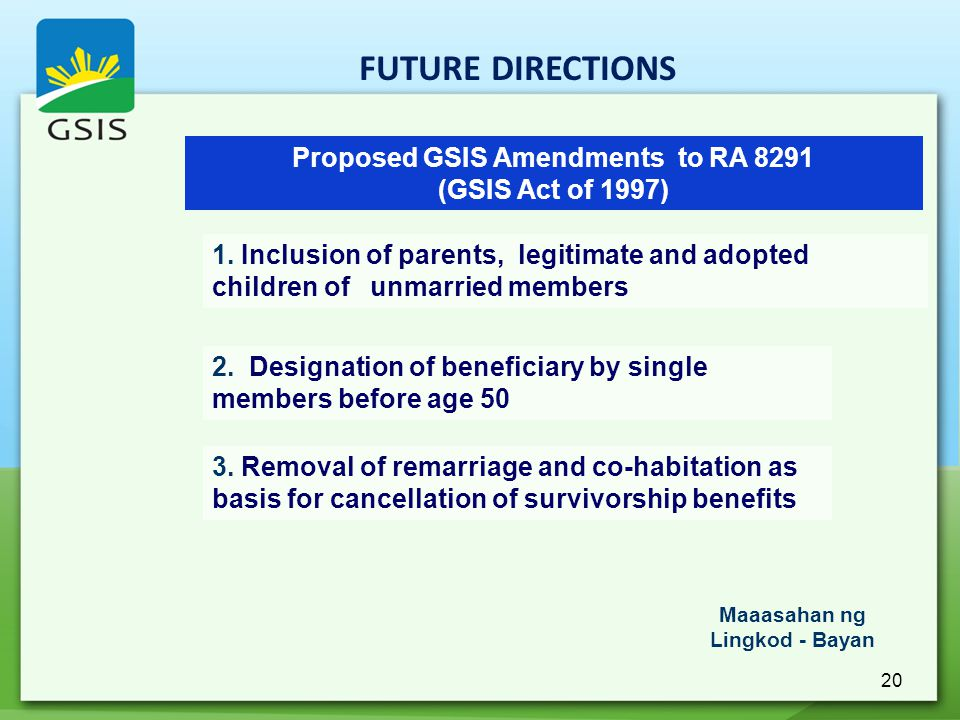 20 Proposed GSIS Amendments to RA 8291 (GSIS Act of 1997) 1. Inclusion of parents, legitimate and adopted children of unmarried members 2. Designation