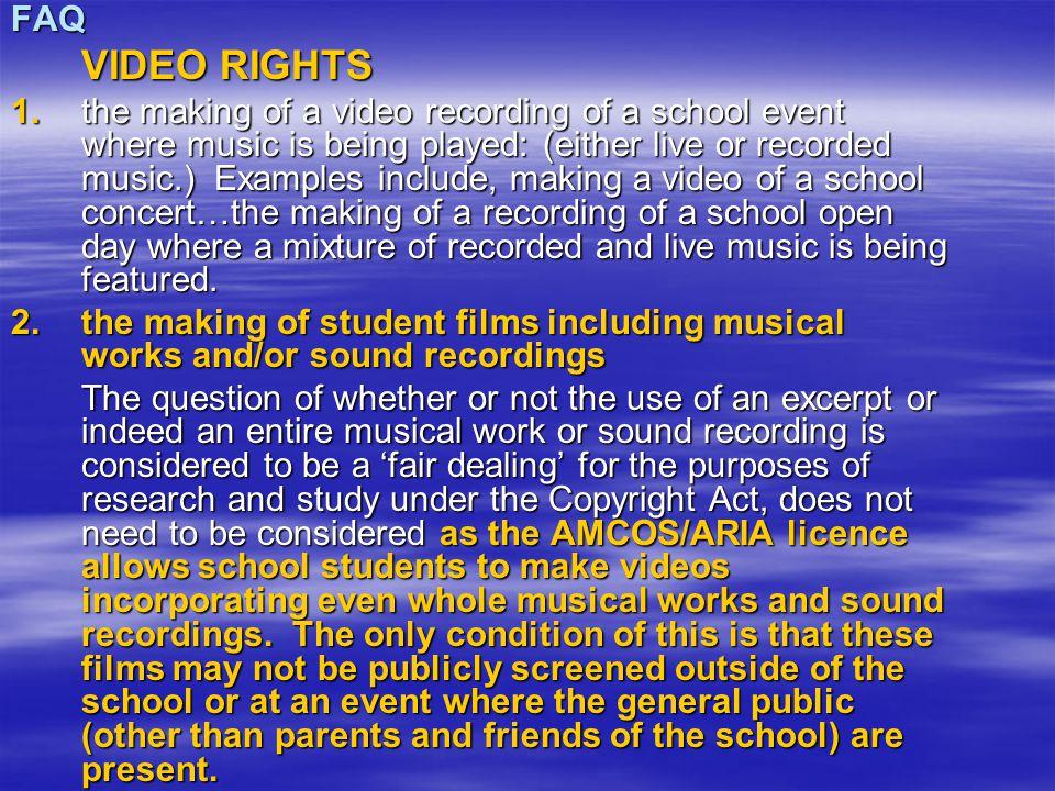 FAQ VIDEO RIGHTS 1.