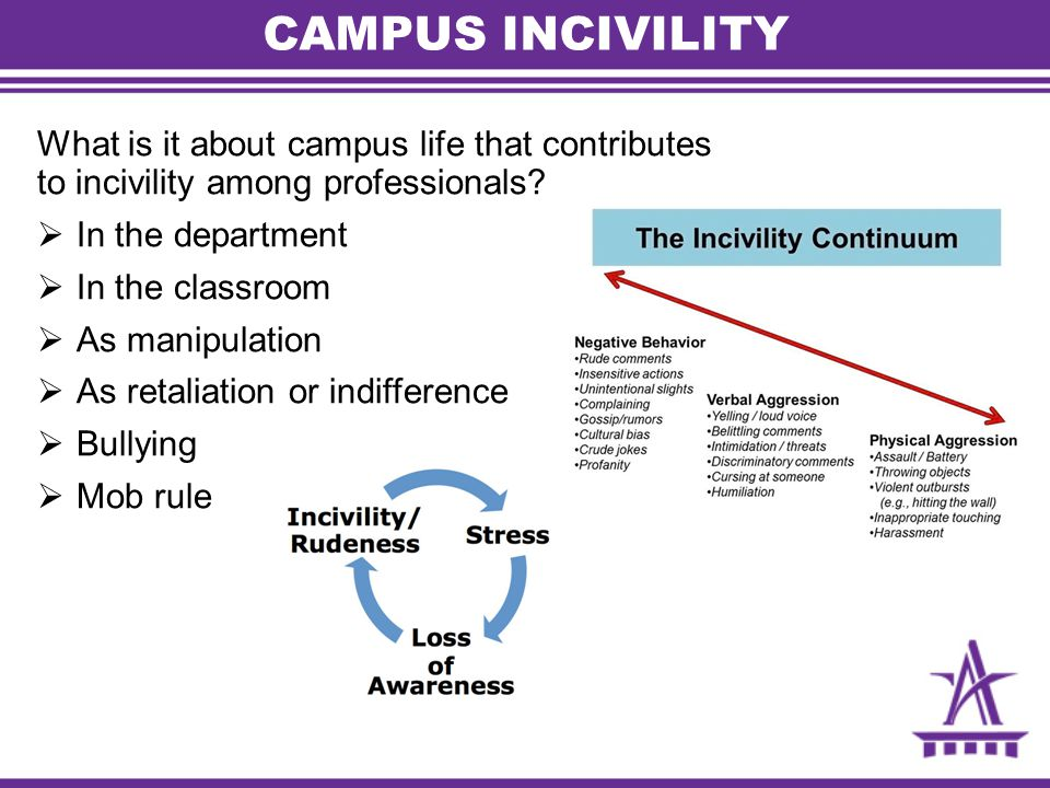 CAMPUS INCIVILITY What is it about campus life that contributes to incivility among professionals.
